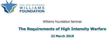 Williams Foundation seminar 22 March 2018